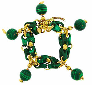 1970s Malachite Yellow Gold Bead Charm BRACELET French Chic and Colorful