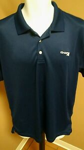 CHAPS GOLF POLO SHIRT MENS SIZE L STAY DRY CUSTOM FIT BLUE SOLID SHORT SLEEVE