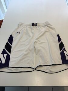 Game Worn Used Northwestern Wildcats Basketball Shorts Under Armour Size XL #32