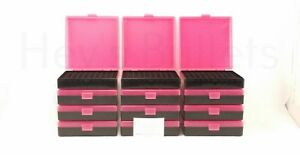 BERRY'S PLASTIC AMMO BOXES (12) PINK 100 Round 40 S&W  45 ACP - FREE SHIPPING