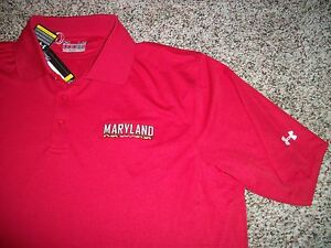 UNDER ARMOUR Maryland Terrapins New NWT Mens LARGE Polo Shirt Red Loose Fit