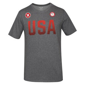 Hurley Dri-Fit Team (USA) Olympic Grey Red Mens T-Shirt Size L-XL