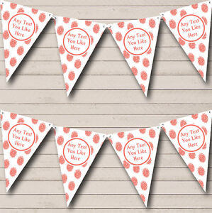 Coral Flowers White Personalised Christening Baptism Bunting Banner Garland