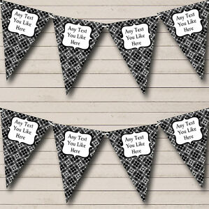 Black And White Personalised Retirement Party Bunting Banner Garland