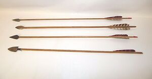 4 Early 1930's Fred Bear Prototype Signed Arrows Archery Recurve Hunting RARE