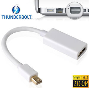 Gold-Plated Mini Display Port to HDMI Adapter Connector Macbook to HDTV 2160P 4K
