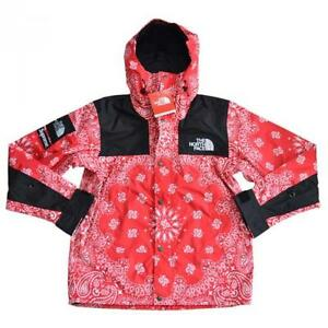 SUPREME x THE NORTH FACE Red White Bandana Mountain Parka Pattern Hoodie Jacket