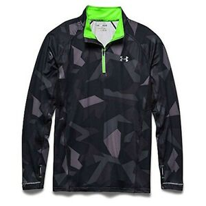 Under Armour Launch Printed 14 Zip Top - Mens Black  Poison  Reflective XL