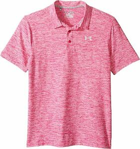 Under Armour Boys' Playoff Polo Shirt Tropic PinkTrue Gray Heather