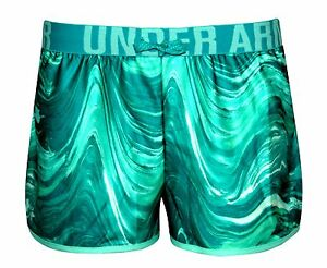 Under Armour YOUTH GIRLS HeatGear Athletic sport Running Shorts Green Small  8