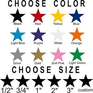 Star stickers Pick your size and color Permanent outdoor glossy vinyl decals.