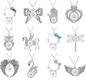 Fashion Women Silver Ginger 18MM Snap Jewelry Charms Pendant Necklace with Chain