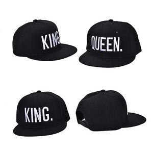 King & Queen White Letter Adjustable Baseball Cap Hats Hip Hop Lovers Snapback