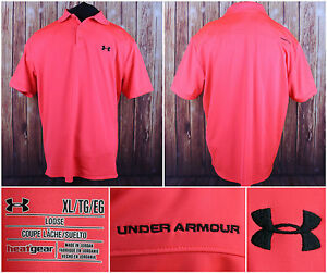 UNDER ARMOUR Fluorescent Orange SS Athletic Polo Shirt Size XL Loose Heat Gear