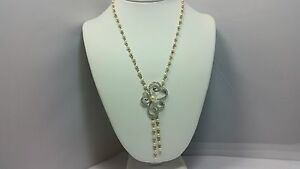 Gorgeous Pearl & Crystal Set Flower Medallion Drop Statement Necklace 18 + 2 In
