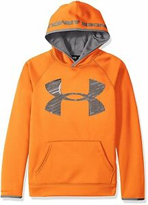 Under Armour STORM FLEECE HOODIE ORANGE Boys Size Large 1416 Sweatshirt NWT