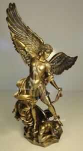 14 1 2quot; ST MICHAEL ARCHANGEL STANDING ON DEMON Statue Antique Bronze Color $82.80