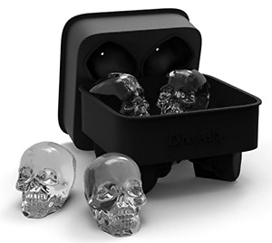 DineAsia 3D Skull Flexible Silicone Ice Cube Mold Tray Makes Four Giant Skull...