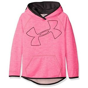 Under Armour Girls' Armour Fleece Novelty Jumbo Logo Hoodi Pink PunkBlack Large