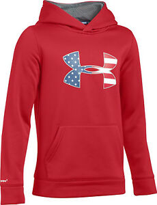Under Armour STORM ARMOUR FLEECE BIG FLAG HOODIE BOYS Large 1416 Youth Red NWT