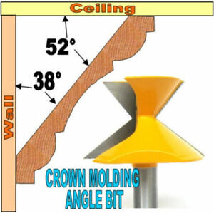 1 pc 1 2quot; Shank Crown Molding Angle 52° 38° Router Bit S $20.90