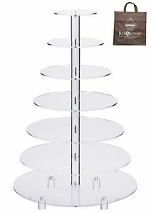 7-Tier Round Acrylic Glass Wedding Cupcake Cake Stand Dessert Food Display Large