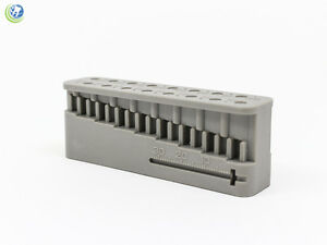 Dental Endodontic Block File amp; Bur Holder w Measuring Ruler Grey Autoclavable $6.50
