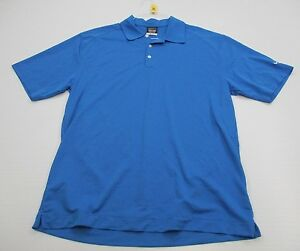 NIKE #T2804 Men's Size L Athletic DRI-FIT GOLF Short Sleeve Blue Polo Shirt
