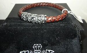 BLACKJACK Men's Skull Brown Leather & Stainless Steel Bracelet BJB175BR NWT