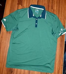 Mens Adidas Climacool Performance Polo Green AF0367 Dry Fit Golf shirt size L