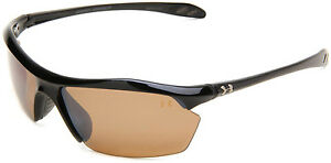 Under Armour UA Zone XL Polarized Sport Sunglasses Shiny Black Frame Brown Lens
