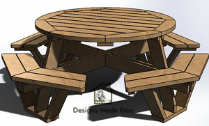 OCTAGON Picnic Table   EASY Woodworking Design Plans 07   FREE Board Cut Diagram