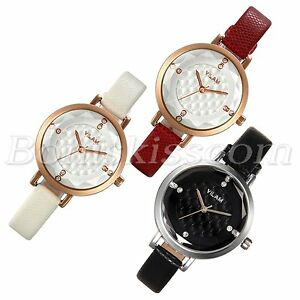 Women Fashion Charm Rhinestone Grid Dial Leather Strap Quartz Wrist Watch Unique