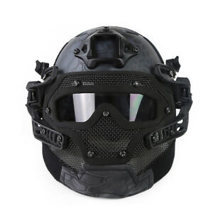 Loogu Fast Tactical Helmet Combined with Full Mask and Goggles Airsoft Paintball