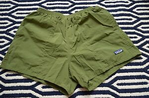 Patagonia Mens Stretch Waist Running Active Shorts Olive Green Lined Pockets M
