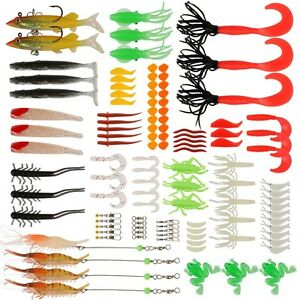 111pcs Trout Bass Fishing Lures Crankbaits Set Kit Soft and Hard Bait Hooks Snap