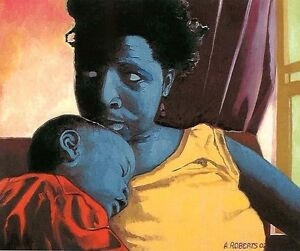African American Black Art quot;Mother and Childquot; by Antonio L. Roberts