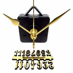 New Silent Quartz Clock Craft Making Kit - 12mm Gold Numbers 65mm Gold Hands