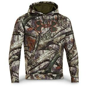 NWT BOY'S LARGE Under Armour Fleece CAMO HOODIE Mossy Oak TREESTAND 1249748 YLG