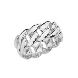 Fine 14k White Gold 8 mm Cuban Link Band Unisex Ring