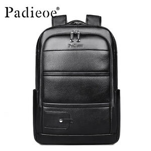Padieoe Men Casual Genuine Leather Youth Backpack Laptop Bag Teenagers Bag Black