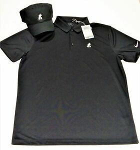 Disney Exclusive Black Nike Dri Fit Baseball Golf Cap Hat & Polo T Shirt Sz L