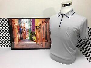 Corneliani Polo Shirt Zipper Sport Dove Gray With Royal Blue The Most Rare Shirt