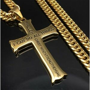 Long Necklace Cross Pendant Curb Chain Bible Verse Philippians 4:13 Gift For Men