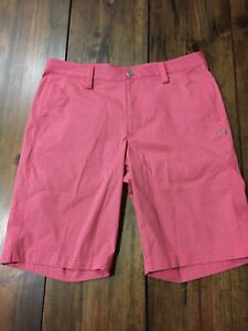 NEW Under Armour Neon Gingham Plaid Golf Shorts • Size 34
