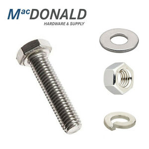 334 PC 18-8 Stainless Steel Hex Bolt Nut & Washer Assortment Coarse Thread