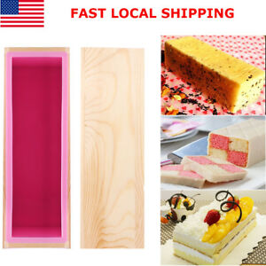 Rectangle Silicone Soap Mold Wooden Box Kit DIY Tool Toast Loaf Baking Cake Mold