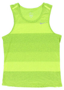 Nike Mens Dri Fit Cool Polka Stripe Tailwind Running T Shirt Bright Yellow S