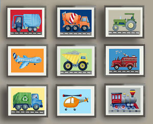 transportation art print construction truck boy nursery decor car truck print