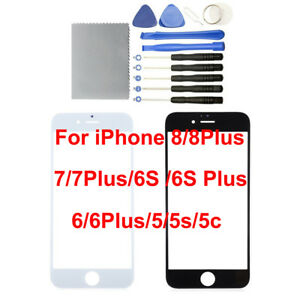 NEW Front Outer Screen Glass Lens Replacement for iPhone 8 7 6S 6 5S Plus Tools